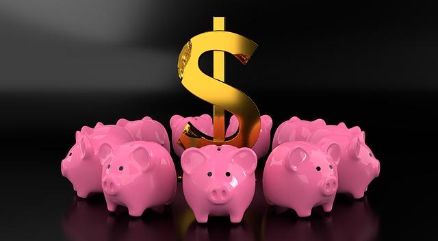 růžová prasátka - pokladničky, symbol dolaru